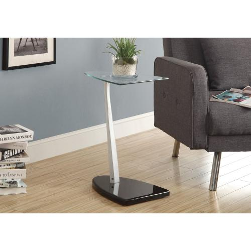 Gallery - ACCENT TABLE - GLOSSY BLACK / SILVER WITH TEMPERED GLASS