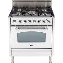 Nostalgie 30 Inch Gas Natural Gas Freestanding Range in White with Chrome Trim