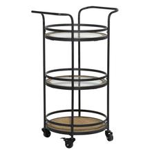 "MTL WD BAR CART 21""W, 35""H"