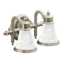 Waterhill Brushed nickel two globe bath light