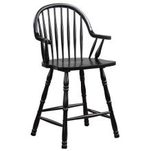 See Details - Windsor Counter Height Arm Stool - Antique Black (Set of 2)