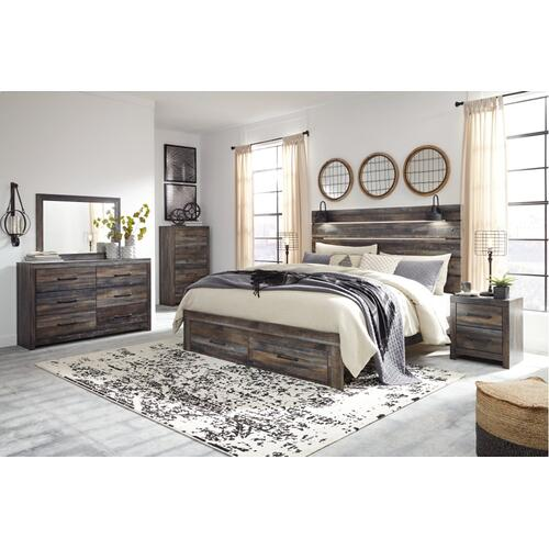 King Panel Bed With Storage With Mirrored Dresser and Chest