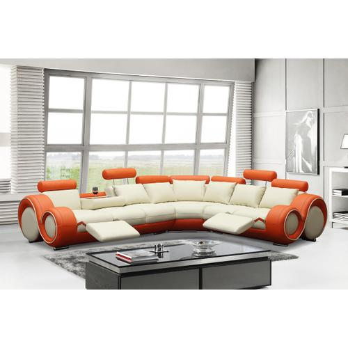 Divani Casa 4087 - Orange and Off-White Bonded Leather Sectional Sofa