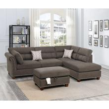 Claudia 3pc Sectional Sofa Set, Tan-velvet