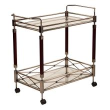 See Details - Melrose Serving Cart With Antique Brass Metal Finish.