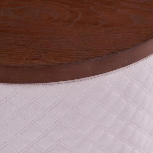 Product Image - Essen Quilted Velvet Fabric Round Storage Ottoman, Walnut/ Serene Blush Pink