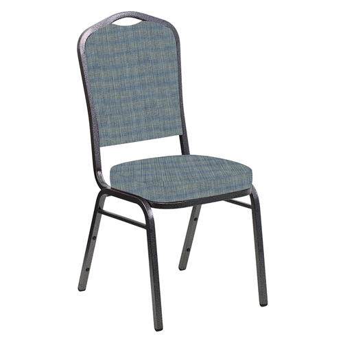 Crown Back Banquet Chair in Sammie Joe Ocean Fabric - Silver Vein Frame