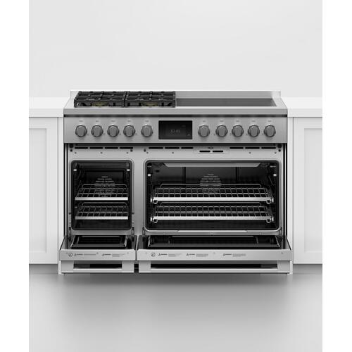 "Dual Fuel Range, 48"", 4 Burners, 4 Induction Zones, Self-cleaning, LPG"
