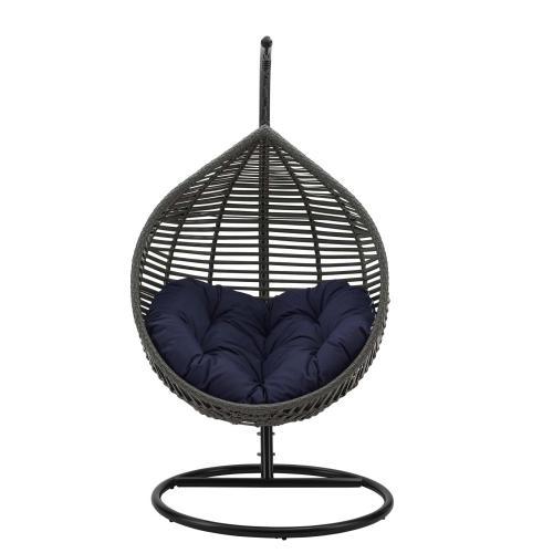 Garner Teardrop Outdoor Patio Swing Chair in Gray Navy