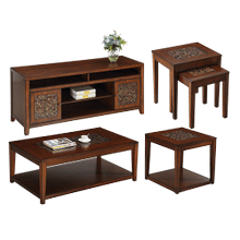 Tiger Eye Coffee & End Table Set