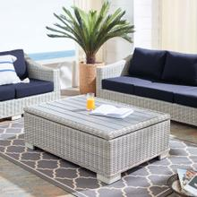 """Conway 45"""" Outdoor Patio Wicker Rattan Coffee Table in Light Gray"""