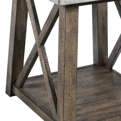 Concrete Top Industrial Farmhouse End Table in Weathered Brown