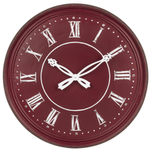 Red Wall Clock with Ornate Hands