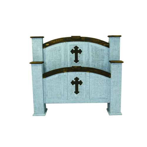 Queen Turquoise Cross Mansion Bed