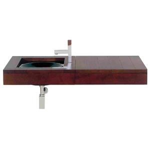 Antonio Miro large Iroko wood wall mount counter top unit with integral drawer. Product Image
