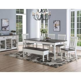Joanna 6 Piece Dining(Table, Bench & 4 Side Chairs)