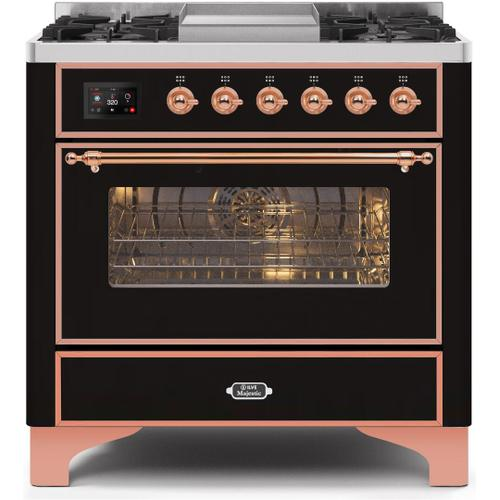 Majestic II 36 Inch Dual Fuel Natural Gas Freestanding Range in Glossy Black with Copper Trim
