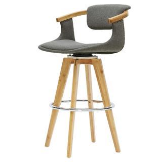Darwin KD Fabric Bamboo Counter Stool, Stokes Gray/Natural
