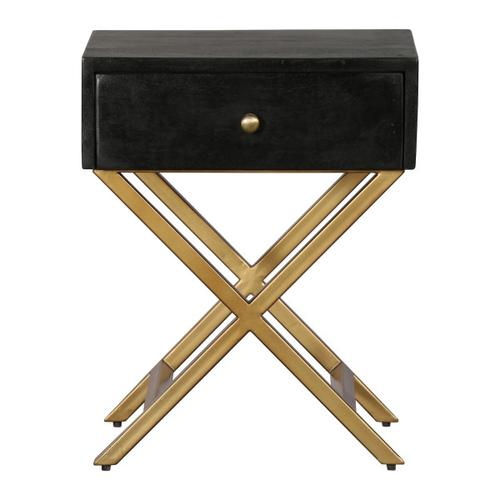 Black & Brass Side Table with Drawer