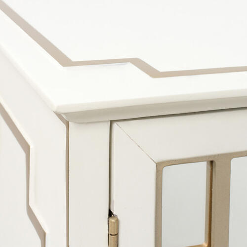 Traditional Mirrored Door Chest with Champagne Gold Overlays