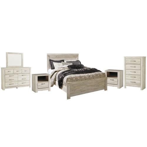 Product Image - Queen Panel Bed With Mirrored Dresser, Chest and 2 Nightstands