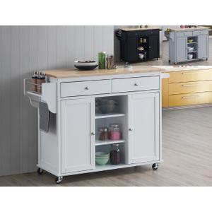 Grady Kitchen Cart Nat Top/wh Base