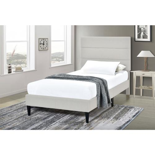 Accentrics Home - Horizontally Channeled Twin Upholstered Platform Bed in Light Gray