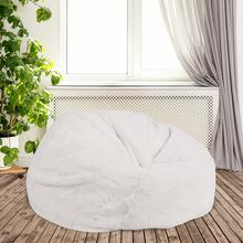 Product Image - Oversized White Furry Bean Bag Chair for Kids and Adults
