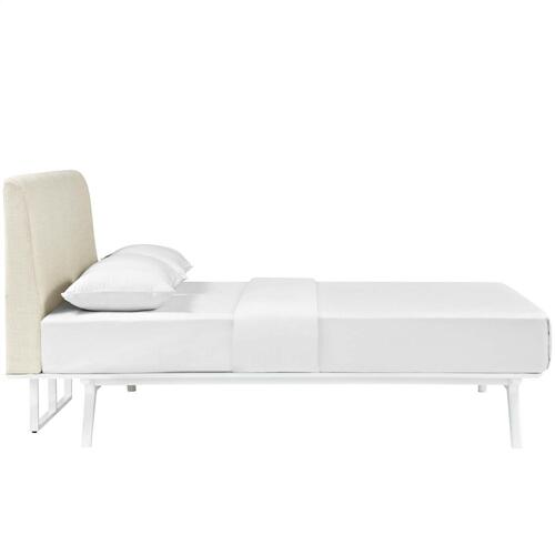 Tracy Queen Bed in White Beige