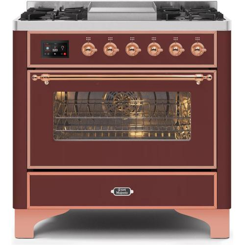 Gallery - Majestic II 36 Inch Dual Fuel Natural Gas Freestanding Range in Burgundy with Copper Trim