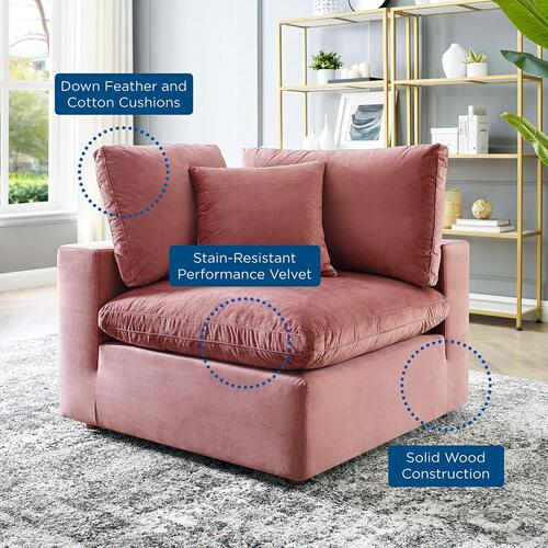 Commix Down Filled Overstuffed Performance Velvet Corner Chair in Dusty Rose