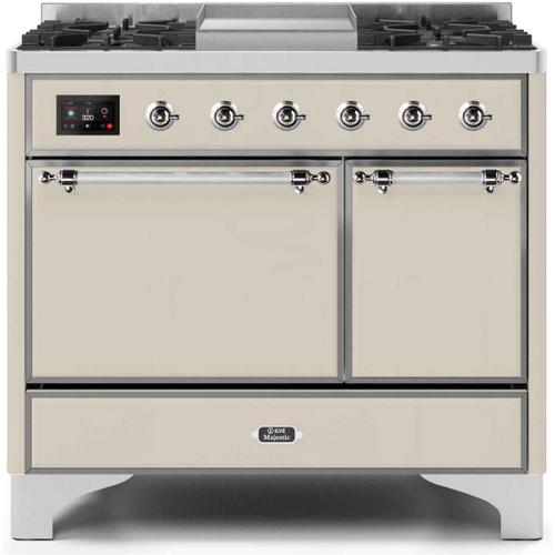 Product Image - Majestic II 40 Inch Dual Fuel Natural Gas Freestanding Range in Antique White with Chrome Trim