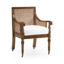 Walnut Caned Bergere Chair, Upholstered in COM by Distributor