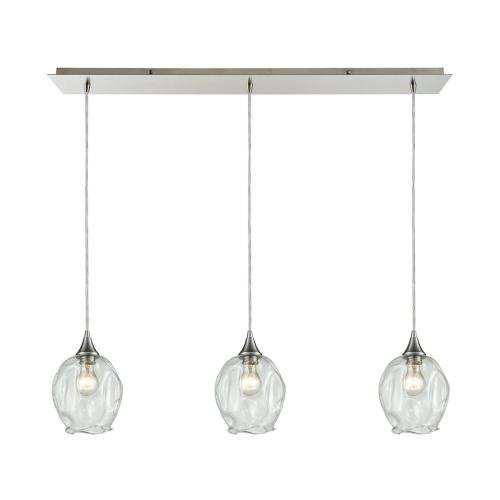 Morph 3-Light Linear Mini Pendant Fixture in Satin Nickel with Clear Blown Glass