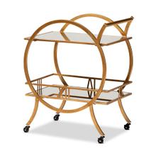 See Details - Baxton Studio Arsene Modern and Contemporary Antique Gold Finished 2-Tier Mobile Bar Cart