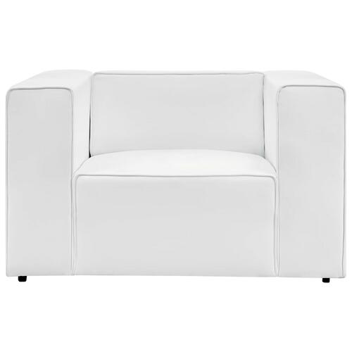 Mingle Vegan Leather Armchair in White