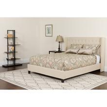 See Details - Riverdale Full Size Tufted Upholstered Platform Bed in Beige Fabric with Pocket Spring Mattress