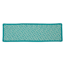 "Outdoor Houndstooth Tweed Stair Tread OT57 Turquoise 8"" X 28"" (Single)"