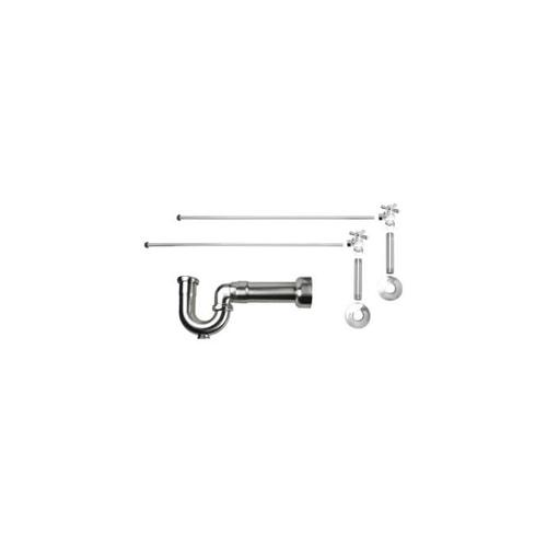 """Lavatory Supply Kit w/ Massachusetts P-Trap - Angle - Mini Cross Handle - 1/2"""" Female IPS Inlet x 3/8"""" O.D. Compression Outlet - Antique Brass"""