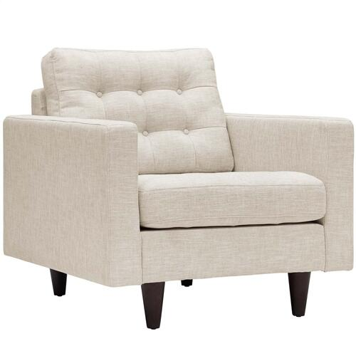 Modway - Empress Upholstered Fabric Armchair in Beige