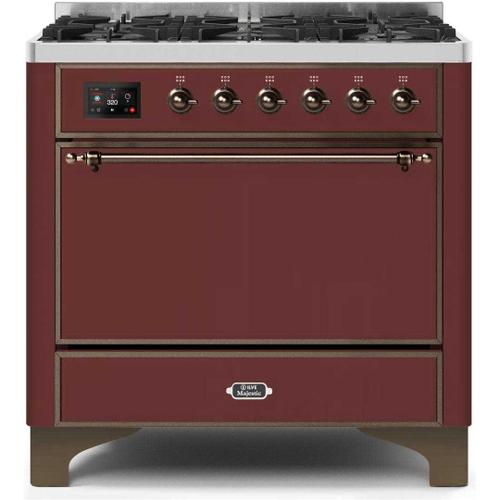 Majestic II 36 Inch Dual Fuel Natural Gas Freestanding Range in Burgundy with Bronze Trim