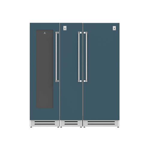 "Hestan - 72"" Wine Cellar (L), Column Freezer and Refrigerator ® Ensemble Refrigeration Suite - Pacific-fog"