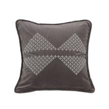 Whistler Gray Velvet Throw Pillow, White Bow-tie, 18x18