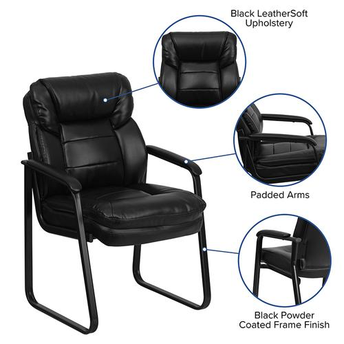 Gallery - Black LeatherSoft Executive Side Reception Chair with Lumbar Support and Sled Base