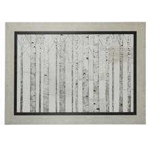 See Details - Birch Trees On White Ground Textured Print Framed In Weathered White
