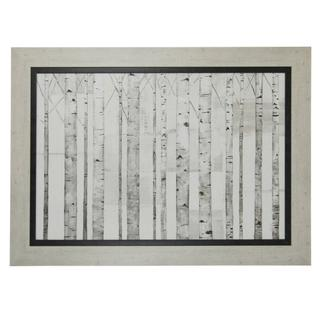 Birch Trees On White Ground Textured Print Framed In Weathered White