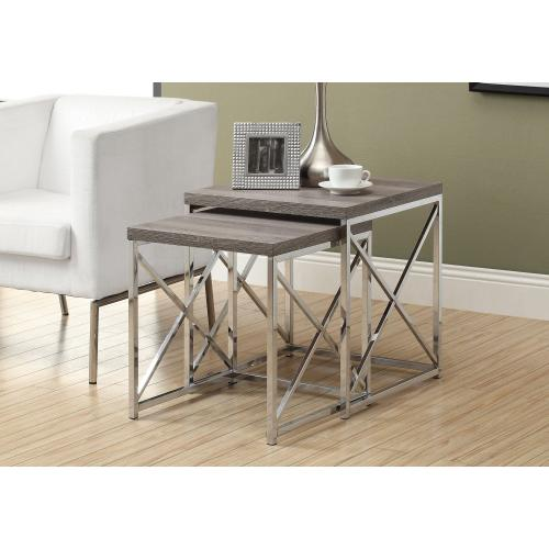 Gallery - NESTING TABLE - 2PCS SET / DARK TAUPE WITH CHROME METAL