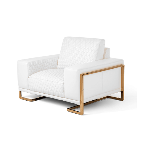 Gianna Leather Chair and Half in White RoseGold