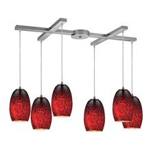 Maui 6-Light H-Bar Pendant Fixture in Satin Nickel with Fire Burnt Glass
