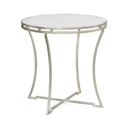 Silver Iron Round Side Table with An Antique Glass Top